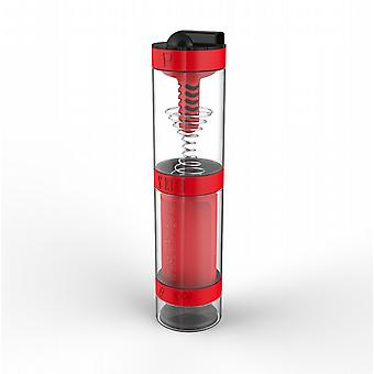 Intelishake Fiery Red - Shaker Bottle Multi-Compartment Protein/Workout/Juice with Water Carbon Filter for Sports Exercise & Gym
