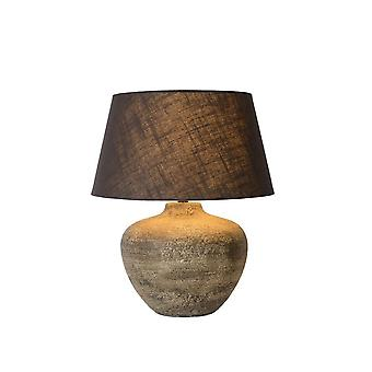 Lucide Ramses Cottage runder Rost braun Tischlampe Keramik