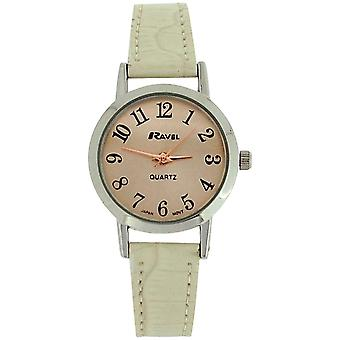 Ravel Ladies Rose goldtone dial & bege crocodilo efeito pulseira PU Watch R 0127.04.2