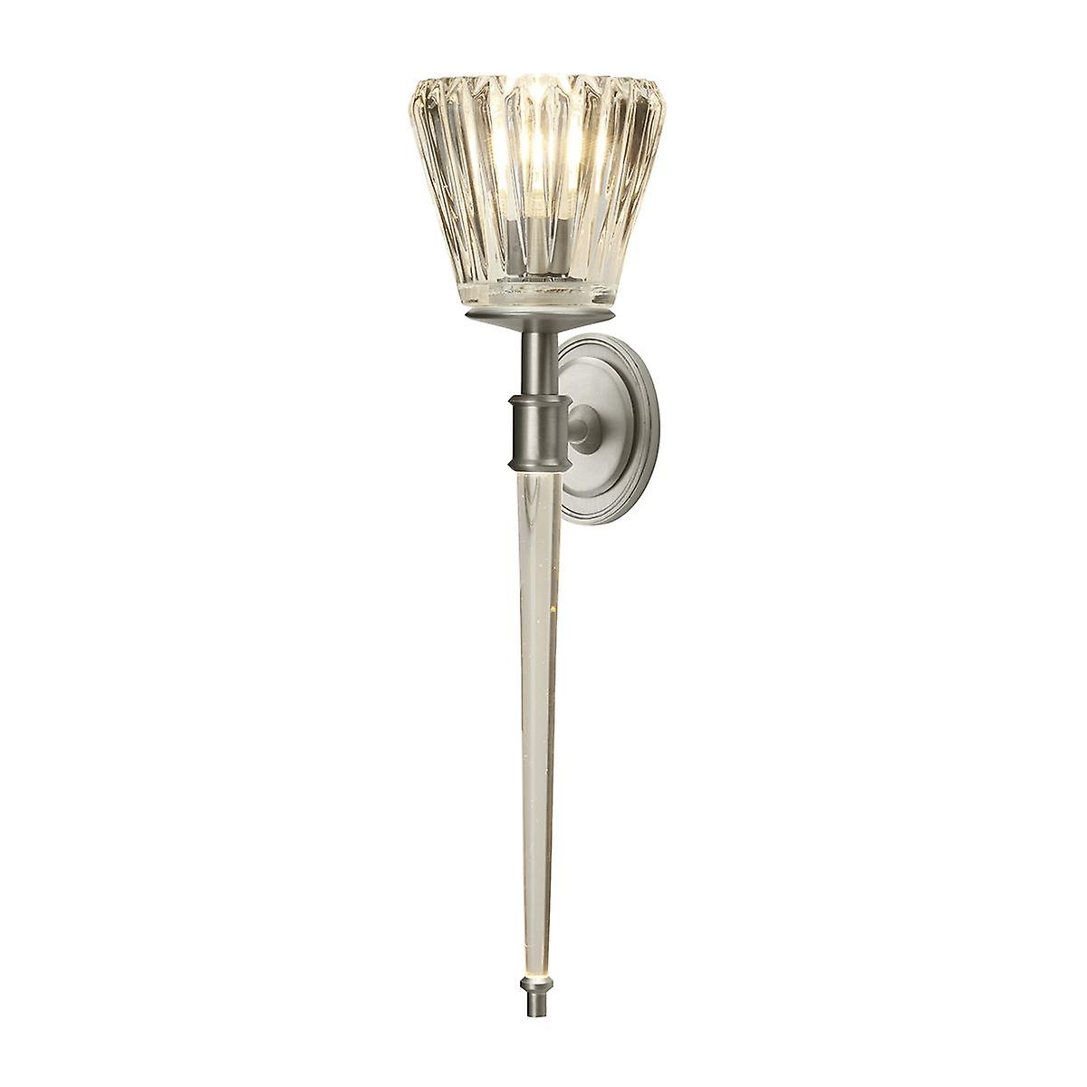 Elstead - 2 Light Wall Light - Brushed Nickel - BATH AGATHA BN