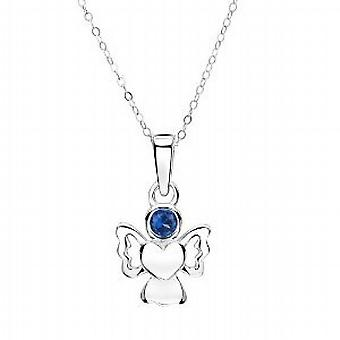 Jo For Girls Sterling Silver September Birthstone Angel Sapphire Color Pendant