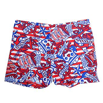 Infant Boys Speedo Essential Allover Print Aqua Shorts In Red Blue- All Over
