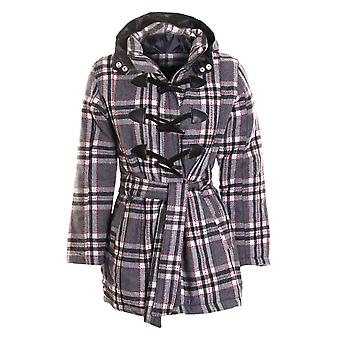 Ladies Check Hoody Hooded Coat Womens Quilted Duffle Jacket