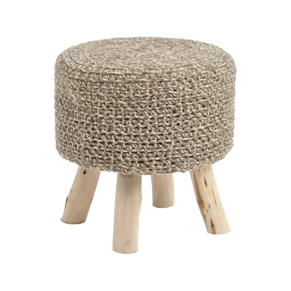 Libra Furniture Taupe Knitted Stool With Lightwood Legs