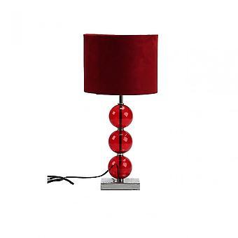 Premier Home Mistro tafel lamp-EU plug, verchroomde stof, glas, rood
