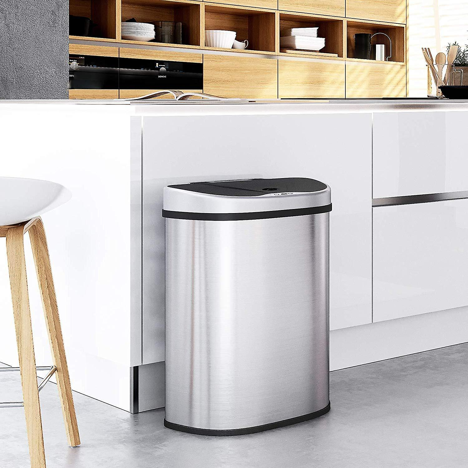 Double stainless steel waste bin with infrared sensor-2x 35l