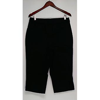 Denim & Co. Women's Pants Capri with Crochet Detail Black A296395