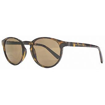 Französisch Verbindung Preppy Runde Sonnenbrille - schwarz/braun