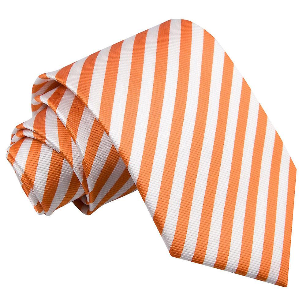 Thin Stripe White & Orange Tie