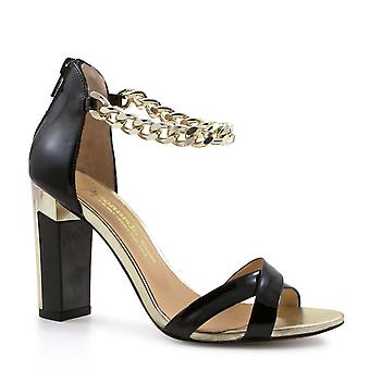 Black patent and gold high heels sandal shoes
