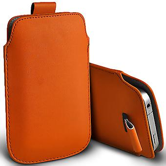 ( Orange ) Pouch Case For Ulafone U007 case Premium Stylish Faux Leather Pull Tab Pouch Skin Case Various Colours To Choose FromUlafone U007 Cover By i-Tronixs