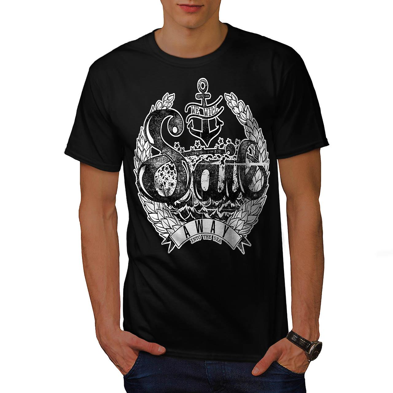 Sail Away Into Sea Boat Cruise Men Black T-shirt | Wellcoda