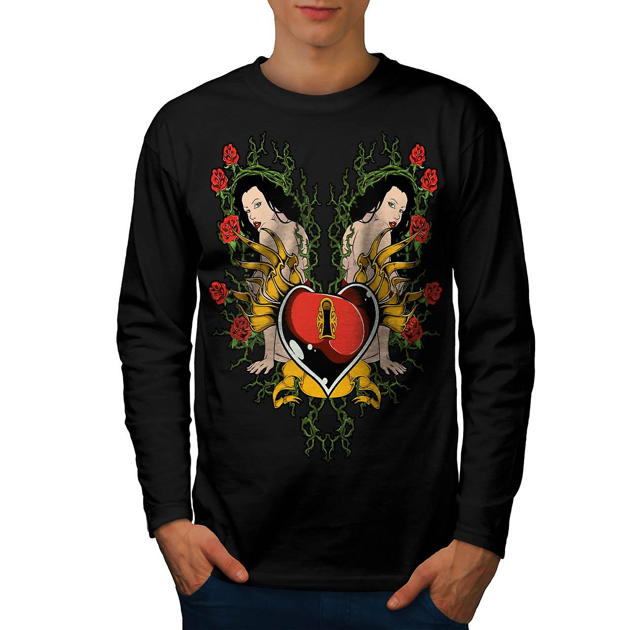 Lock Heart Girl Valentine Men Black Long Sleeve T-shirt | Wellcoda