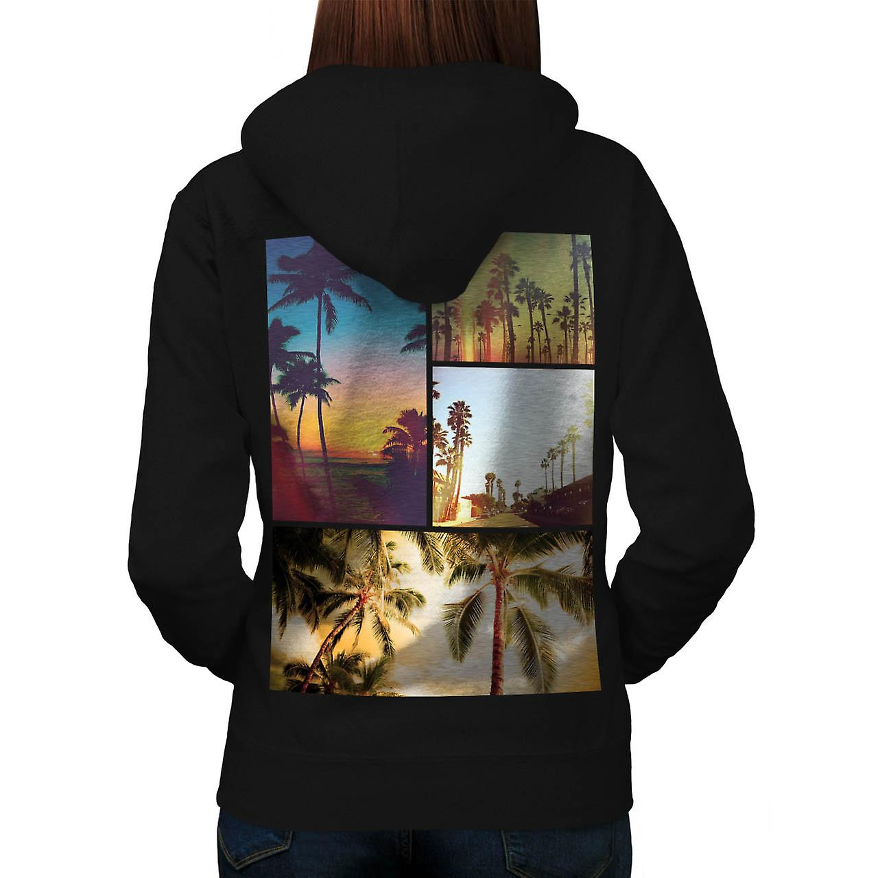 Holiday Summer Fun Sunshine Break Women Black Hoodie Back | Wellcoda