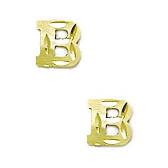 14k Yellow Gold Initial B Stamping Children Earrings - Measures 6x6mm