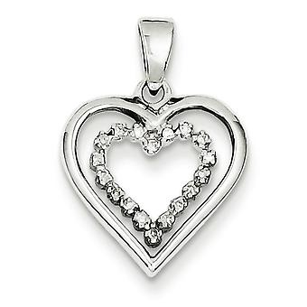 Sterling Silver Diamond Heart Pendant - .06 dwt