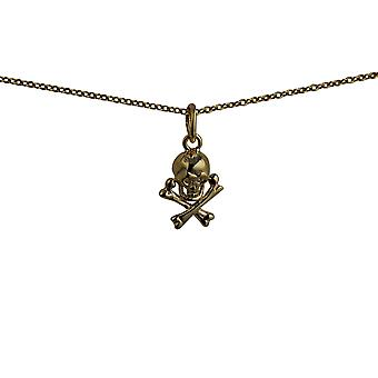 9ct goud 12x10mm Skull and Crossbones hanger met een kabel ketting 20 inch