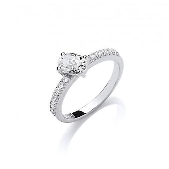 Cavendish French Silver and Round CZ Solitaire Stacking Ring