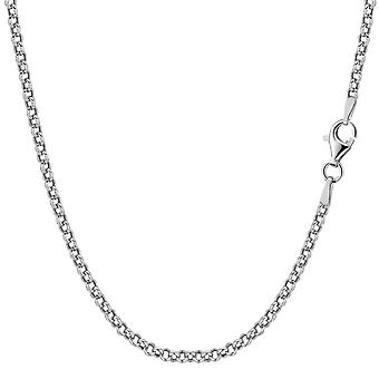 Sterling zilveren Rhodium Plated Rolo ketting ketting, 2.4mm
