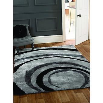 Black & Grey Swirl Shag Rug Corfu