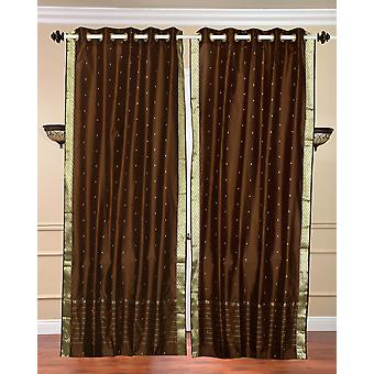 Brown - Grommet Top Sheer Sari Curtains - Pair - Several sizes and options