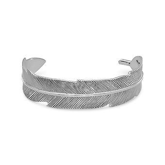 Oxidiertem Sterlingsilber Feder Design Manschette Armband Manschette ist 17 mm breit