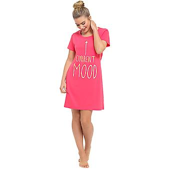 Ladies Fun Print Short Sleeve Jersey Nightdress Nighty Nightie Sleepwear