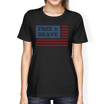 Gratis & modiga amerikanska flagga amerikanska flaggan skjorta dam svart bomull Tshirt