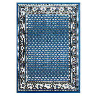 Blue Bordered Traditional Living Room Rug