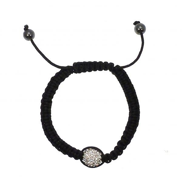 W.A.T Black Macrame Single Clear Crystal Glitterball Bracelet