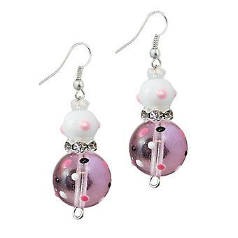 Pink Passion Flip Flops Rhinestone glas Beaded Kate og Macy øreringe