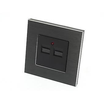 I LumoS Luxury Black Brushed Aluminium Double 2.1A USB Single Socket Charger