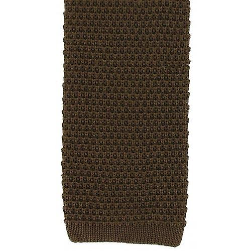 Michelsons of London Silk Knitted Tie - Brown