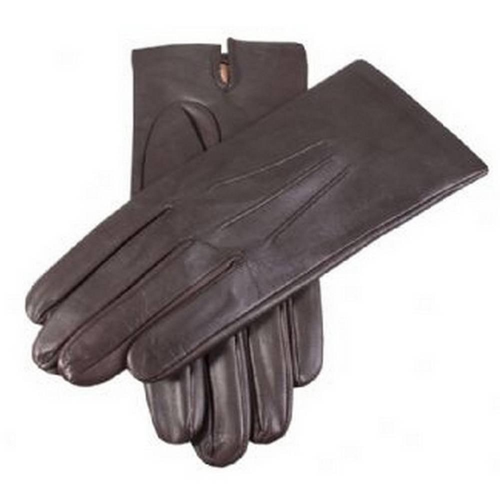 Dents Plain Silk Lined Leather Gloves - Brown