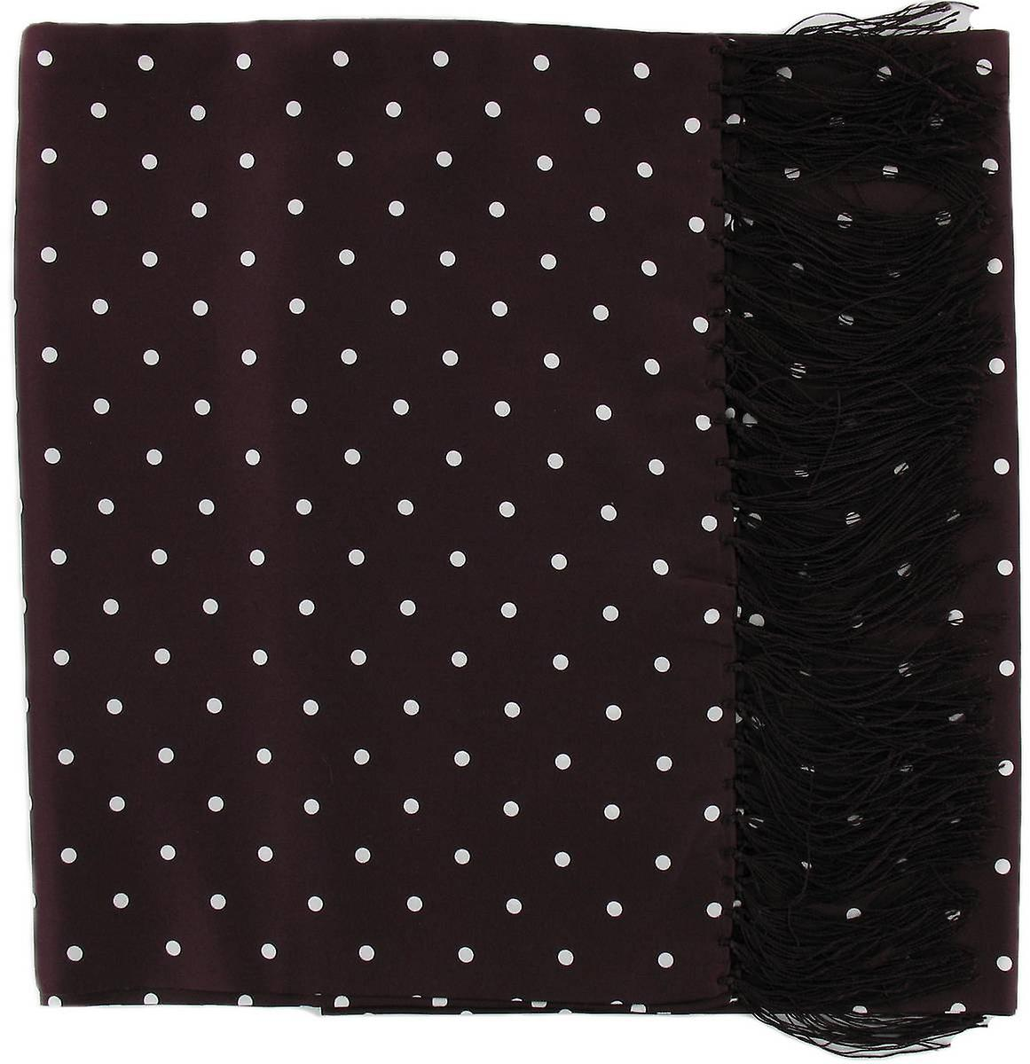 Michelsons of London Wide Polka Dot Silk Scarf - Burgundy