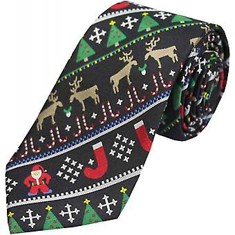 David Van Hagen Christmas Silk Tie - Black