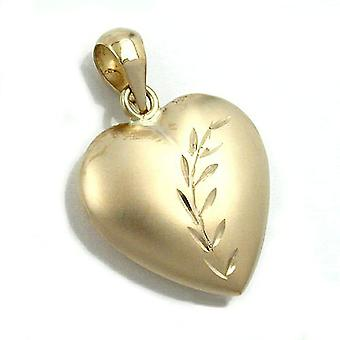Heart pendants gold 375 Heart Necklace pendant, heart with grinding, 9 KT GOLD