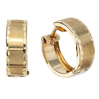 Earrings hoops, 333 / - Gelbgold, partially frosted folding mechanism