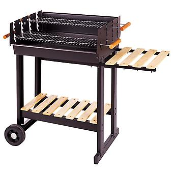 Ldk Barbacoa carbón rectangular acero negro 88x46x90 cm (Jardin , Barbecues , Barbecues)