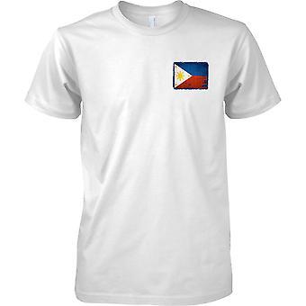 Phillipines Grunge Grunge Effect Flag - Mens Chest Design T-Shirt