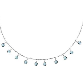 Florence ronde Edelsteen ketting Silver Blue Topaz