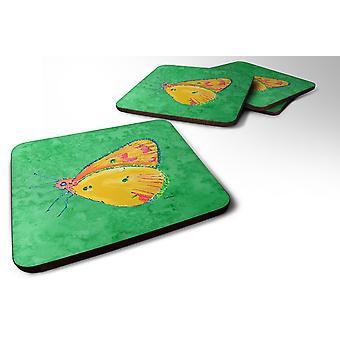 Carolines Treasures  8861FC Set of 4 Butterfly Orange on Green Foam Coasters