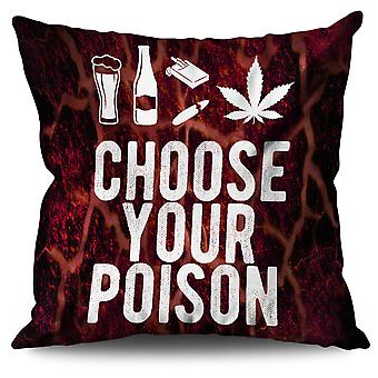 Wine Beer Poison Funny Linen Cushion Wine Beer Poison Funny | Wellcoda