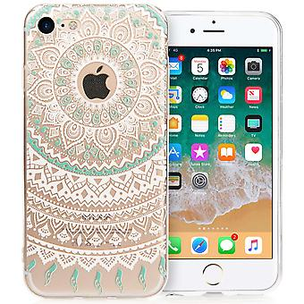 iPhone 8 Mandala trykt mønster - Mint grøn/hvid