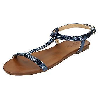 Ladies Spot On Flat Diamante T-Bar Sandals F00031
