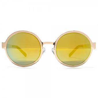 Miss KG Flat Sheet Metal Round Sunglasses In Shiny Pale Gold