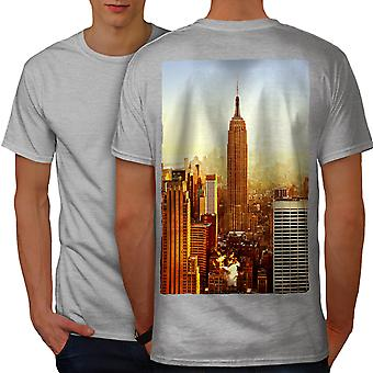 Empire State Sun Set City Men GreyT-shirt Back | Wellcoda