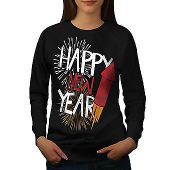 Fuegos artificiales fiesta nuevo mujeres BlackSweatshirt | Wellcoda