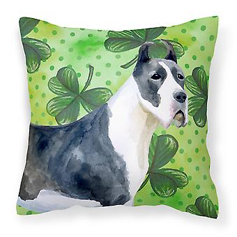 Harlequin Great Dane St Patrick's Fabric Decorative Pillow