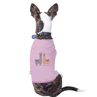 اللاما نمط القطن عطلة لطيف وردي القميص الحيوانات الأليفة الحيوانات الأليفة هدايا ملابس الكلاب الصغيرة